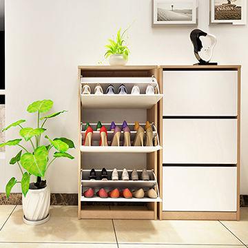 China Foldable Wooden Shoe Rack Drawer, Rotating Shoe Storage