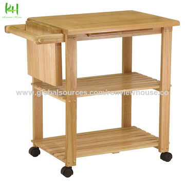China Kitchen Carts Made By Solid Wood Good For Kitchen And Dining Room On Global Sources Wood Kitchen Carts Nature Wood Kitchen Trolley Bamboo Wood Kitchen Trolley
