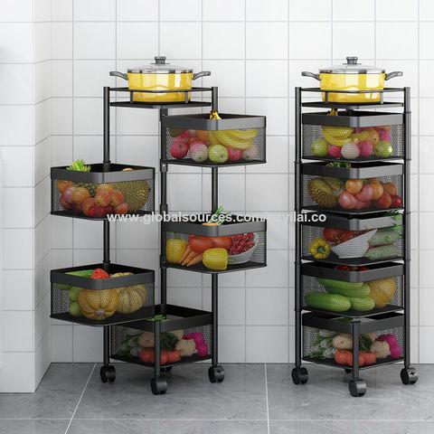 China Kitchen Rotating Shelf 360 Degree Baskets Fruit Vegetable Storage Rack Multi Function Shelf On Global Sources Kitchen Shelf Kitchen Multi Function Shelf