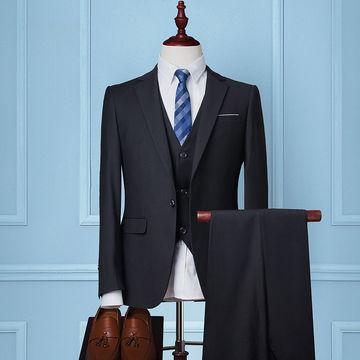 Custom Made Dark Navy Blue Men Suit 2017 Fashon Groom Wedding Suits For Slim Fit Tuxe
