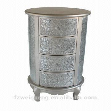 4 Drawer Crackle Glass Round Chest/Storage Cabinet | Global Sources