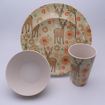 China Bamboo Fiber Dinnerware Set with Deer Set of 4Non-toxic and ... : non toxic dinnerware - pezcame.com