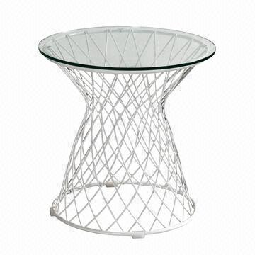 China Modern Wire Side Table With Glass Top, Galvanized Frame, Suitable For  Sitting Room