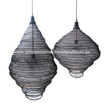 India Pendant Light Wire Mesh W Black Powder Coated Finish For Home Decor