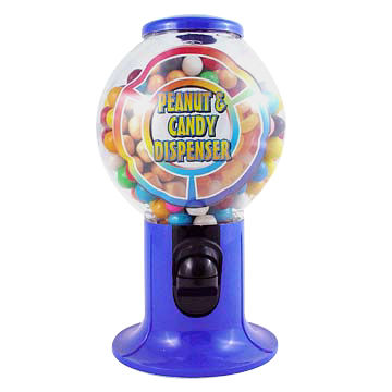 Taiwan Plastic Snack and Candy Dispenser with Unique Flattened Globes, Safe and Nontoxic