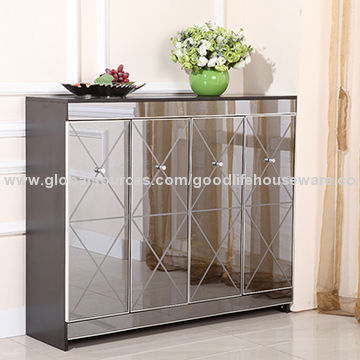 China Living Room Mirrored Wooden Storage Shoe Rack ...