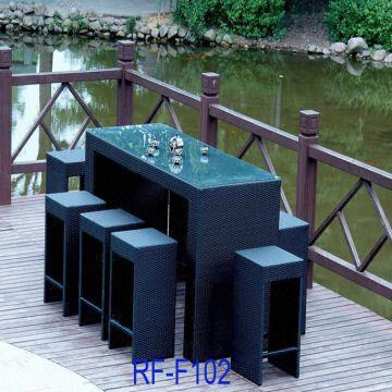 China New Pe Rattan Bar Set Table Chair Wicker
