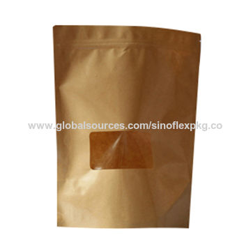 China Eco Friendly Kraft Paper Bag For Food With Clear Window Tears Notch And