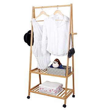 China Removable Home Furniture Bamboo Hanging Clothes Rack