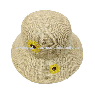 3869e313 China Fashion Lovely Girl Paper Straw Hat with Sunflower Embroidered,  Support OEM Customization