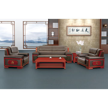 Bon ... China Classic Synthetic Luxury Black Office 3 Seater PU Sofa Set For  Sitting Reception ...