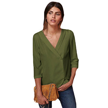 8101633e1ea0a2 China Autumn Fashion V Neck Women Blouse,Made of 95%polyester+5% ...