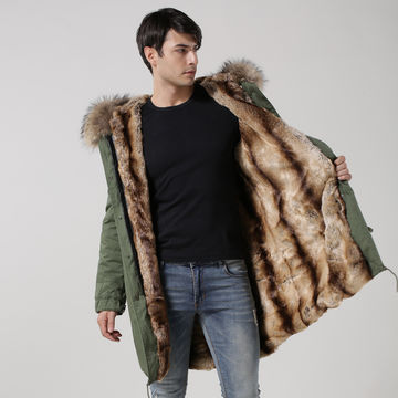 2016 men fur coat with real fur collar and faux fur lining