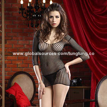 three quarter sleeves black mature women's sexy lingerie | global