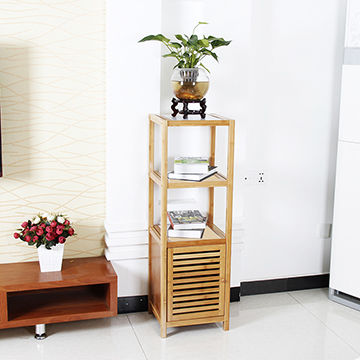 5-tier Shelf Bamboo Bathroom Towel Storage Rack with Cabinet ...