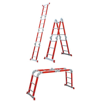 China Fiberglass Multipurpose Ladder 4x3 12rungs Multi Functional Foldable  Stairs For Electric Workers