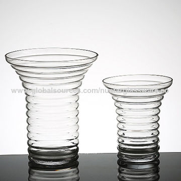 China Ribbed Line Clear Trumpet Glass Vases From Qingdao Wholesaler