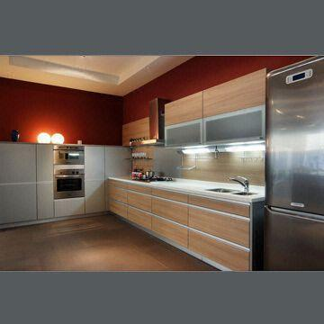 China MFC Kitchen Cabinet With Tempered Glass Countertop And MDF Door