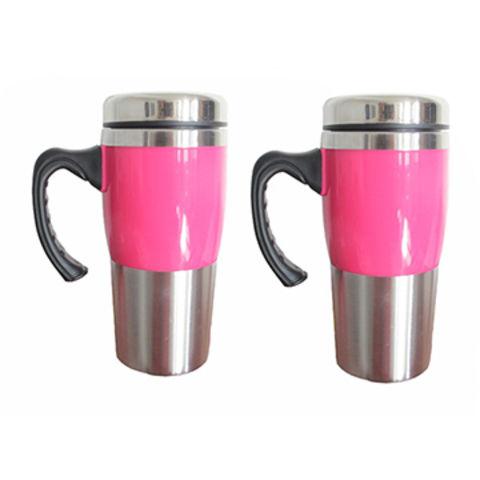 China Pink Color Metal Travel Coffee Mug With Handle16oz On Global