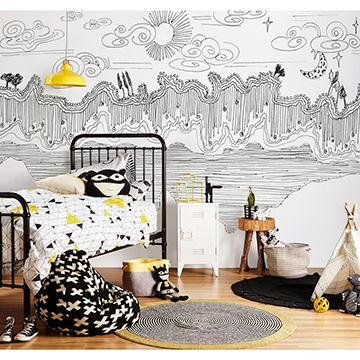 Gris* Graffiti design large wall mural nursery wallpaper ...