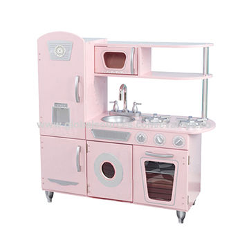 China Wooden Pink Kitchen Set For Kids