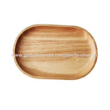 Natural Wooden Serving Fruit Bread Plates Children Dish Tea Bed Tray Oval#2