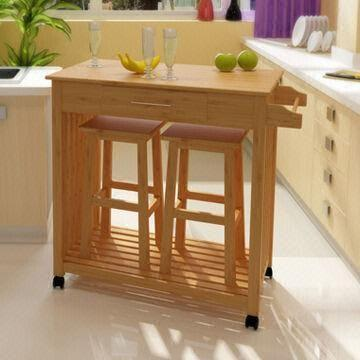 bamboo kitchen trolley with two chairs measures 105 x 48 x 87cm