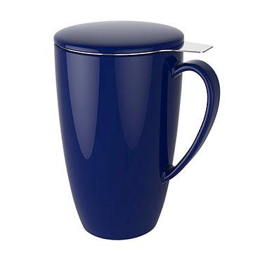 China Porcelain Tea Mug Ceramic Coffee Cup Lid 15 Oz