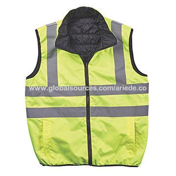 Waterproof Jacket Warm Mens Coat Workwear Security Hi Viz Reversible Bodywarmer