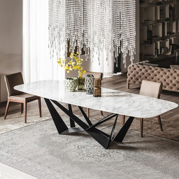 Faux Marble Dining Table Black Metal