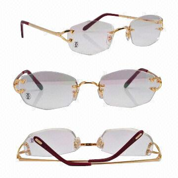 Wire frame rimless for reading eyeglasses, gold and silver models ...