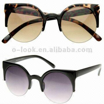 d103766627 ... China Designer Inspired Round Circle Cat Eye Semi-Rimless Half Frame  Sunglasses Free s Customer s Logo