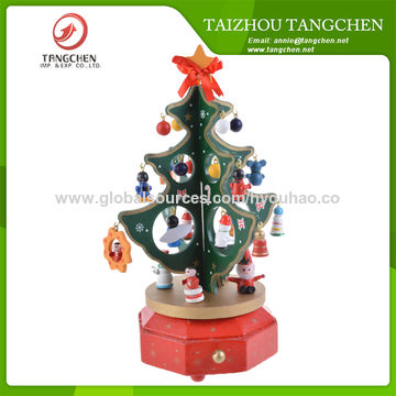 Children's Christmas Tree Gifts Bulk Decor Cute Cartoon Wood Music Box, Clockwork Melody Box