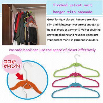 ... China ABS Plastic Non Slip Flocked Velvet Hanger