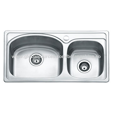 Double Kitchen Sink With Drainboard.Double Bowl Stainless Steel Kitchen Sink