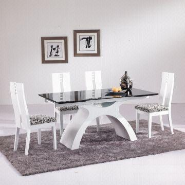 ... China 8 Seater Extendable Glass Dinner Table Set Glass Table Top
