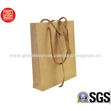 China Wholesale cheap brown kraft paper bag, shopping bag, paper bag with ribbon