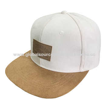 867918520 China Men's flat brim cap made with suede fabric, a leather patch ...