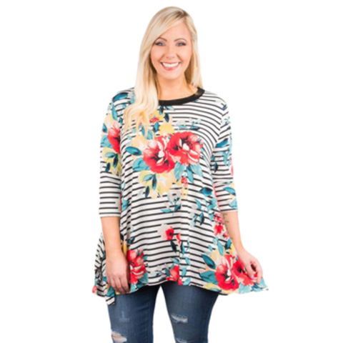 10c75f70635 Drop Ship White Stripes Flower Print Flowy Plus Size Women Top,Made of  Polyester+Spandex