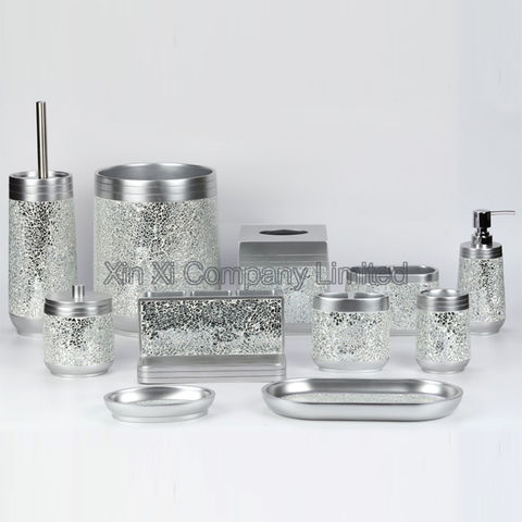 Frosted Bathroom Accessories Set, Clear Bathroom Accessories