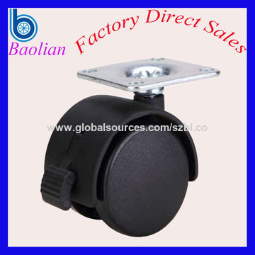 China 2 inch nylon PA6 wheel flat plate caster with brake