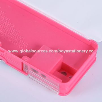 China PVC pencil box, plastic pencil box with button sharpener and calculator/double hole pen holder