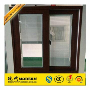 China Modern Brand Wood Color Aluminum Horizontal Sliding Windows With Magnet Blinds Office Wi