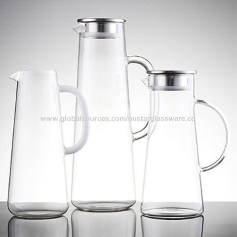 China Borosilicate Glass Water Pitcher With Stainless Steel Lid