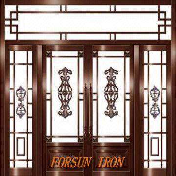 Wrought iron door iron door window grill design villa for Door n window designs