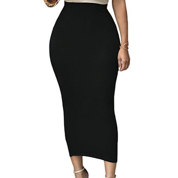 994a4bf1f2 Cheap Solid Black High-waisted Bodycon Maxi Skirt,Made of 95%Polyester+5%  Spandex