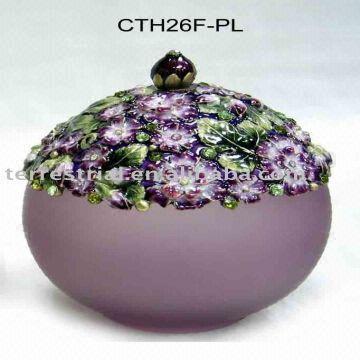 Floral Round Enamel Trinket Box Decorative Metal Jewelry Box