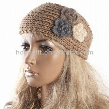 Ear Muff Crochet Headwrap Women s Knit Headband with Three Flowers ... 9503ab32295
