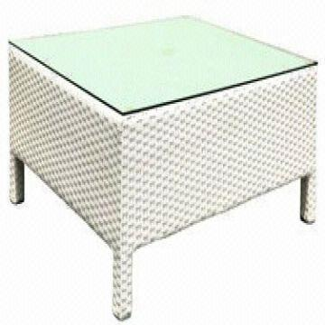 White Rattan Coffee Table With Tempered Gl Top 1 2mm