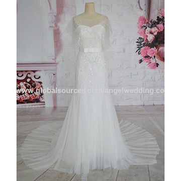 Tulle fabric elegant decorated with sequins and ribbon sash mermaid ...